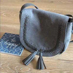 LUCKY BRAND Gray Suede Boho Crossbody Bag